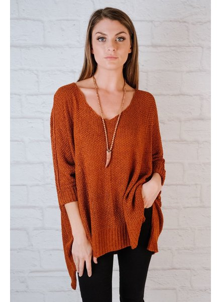 Sweater Rust 3/4 Sleeve Favorite