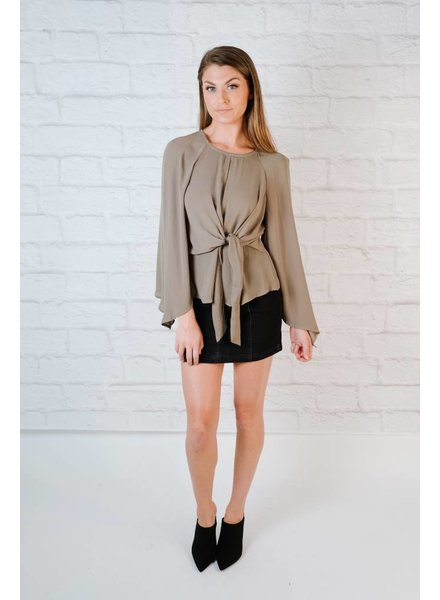 Blouse Knot Front Slouchy Blouse