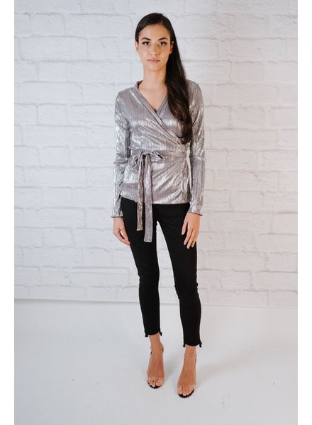 Blouse Metallic Wrap Blouse