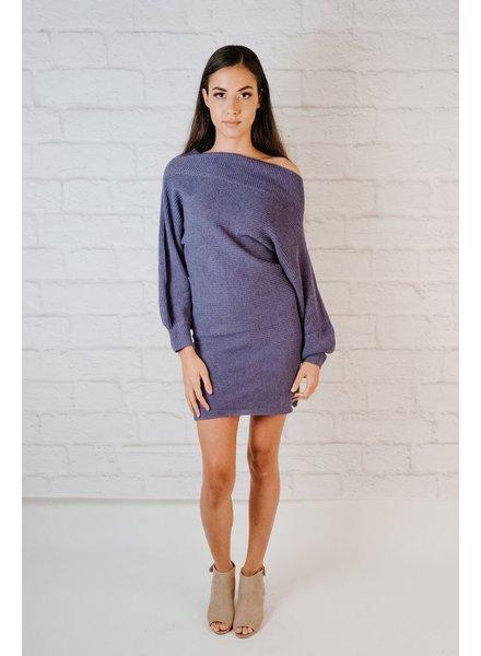 Mini OTS Balloon Sleeve Knit  Dress