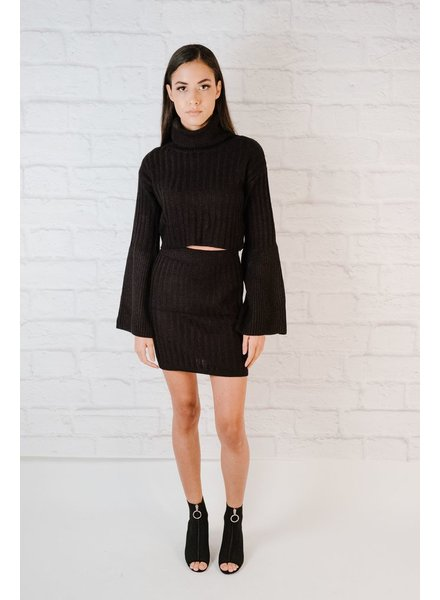 Knit Bell Sleeve Turtle Neck Knit