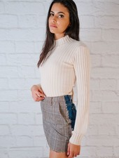 Skirt Denim & Plaid Mini