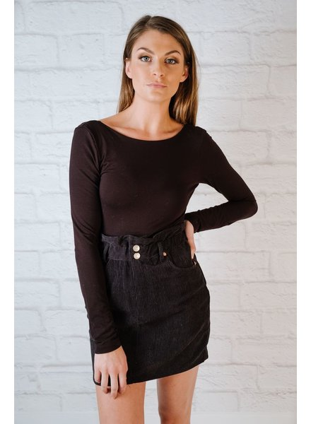 Skirt Black Corduroy Mini