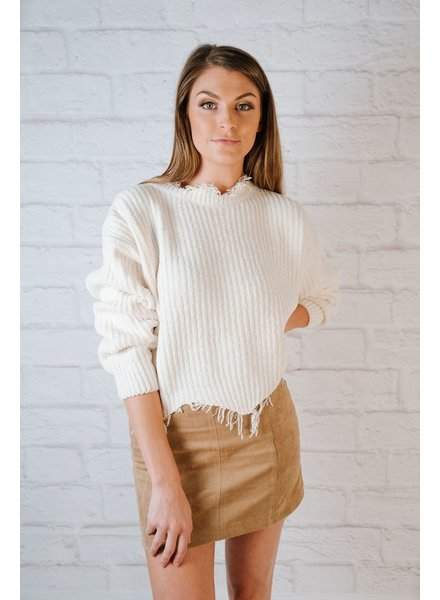Sweater Cream Fray Hem Knit