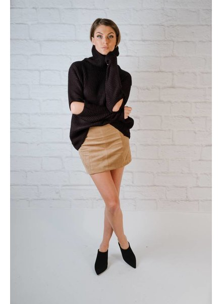 Sweater Black Elbow Slit Knit