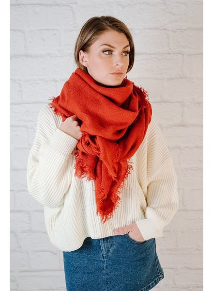 Scarf Red Olong Frayed Edge Scarf