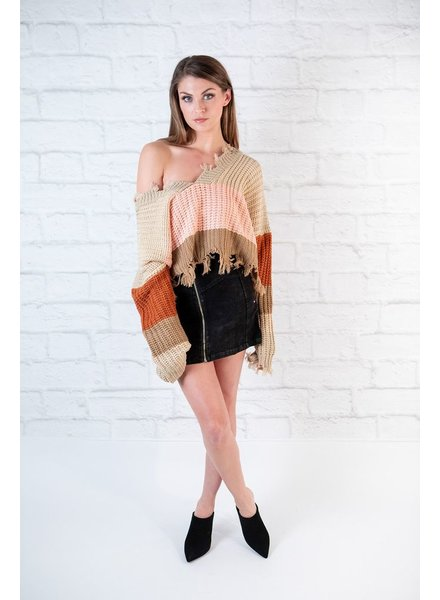 Sweater Fray Edge Multi Colored Knit
