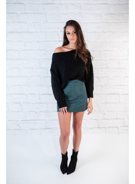 Sweater Black Fuzzy Cropped Knit