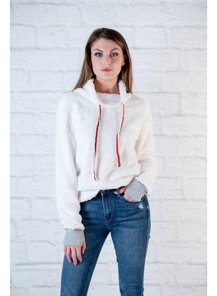 Sweatshirt Fuzzy Contrast Sweatshirt