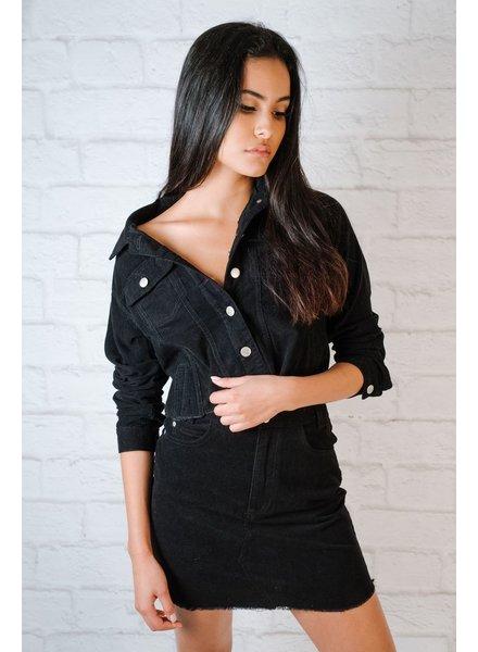 Skirt Black Raw Edge Cord Mini