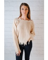 Sweater Reversible Fray Hem Knit