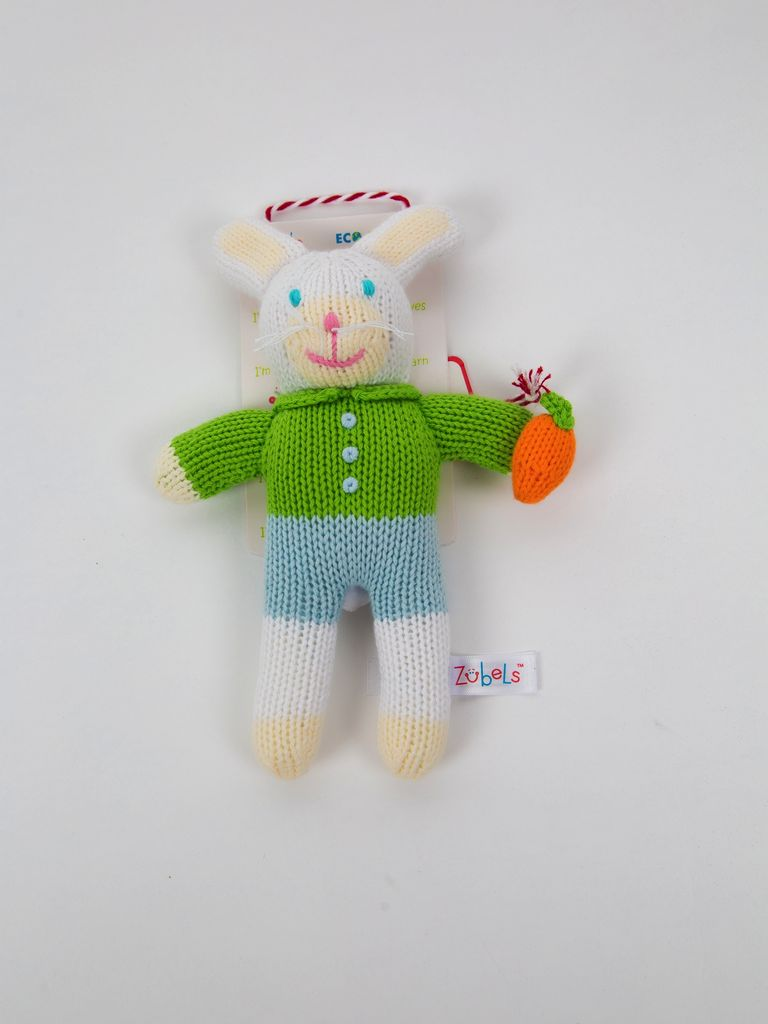 Renzo Boy Bunny rattle by Zubels - 7""