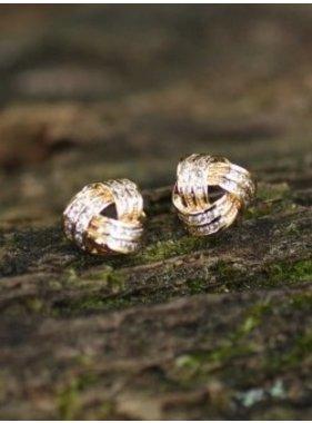 Caroline Hill Gold Knot Crystal Stud