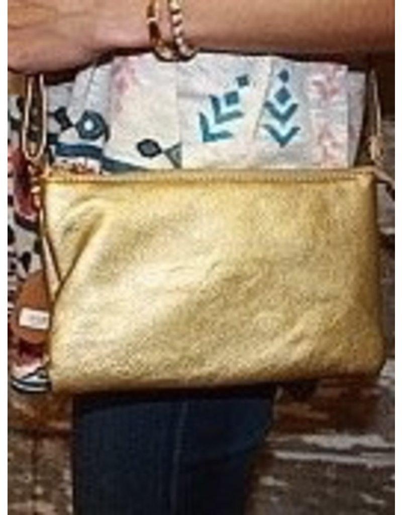 Monica's Handbags Gold Leather Crossbody