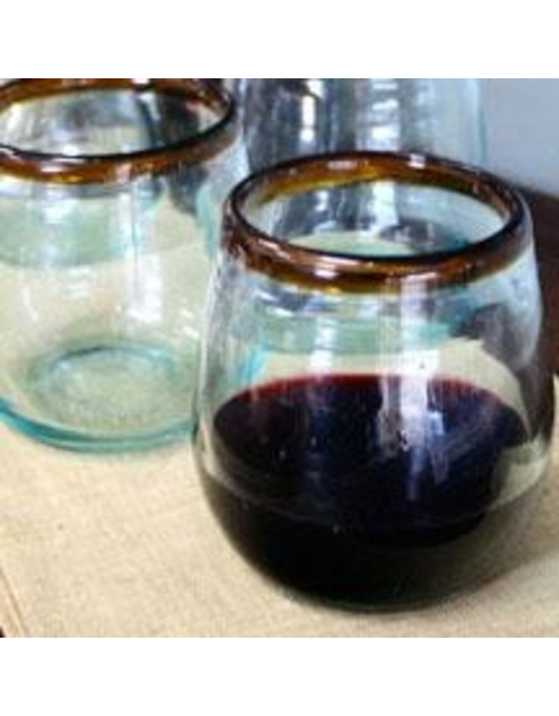 Kalalou Stemless Wine Glass w/ Amber Trim