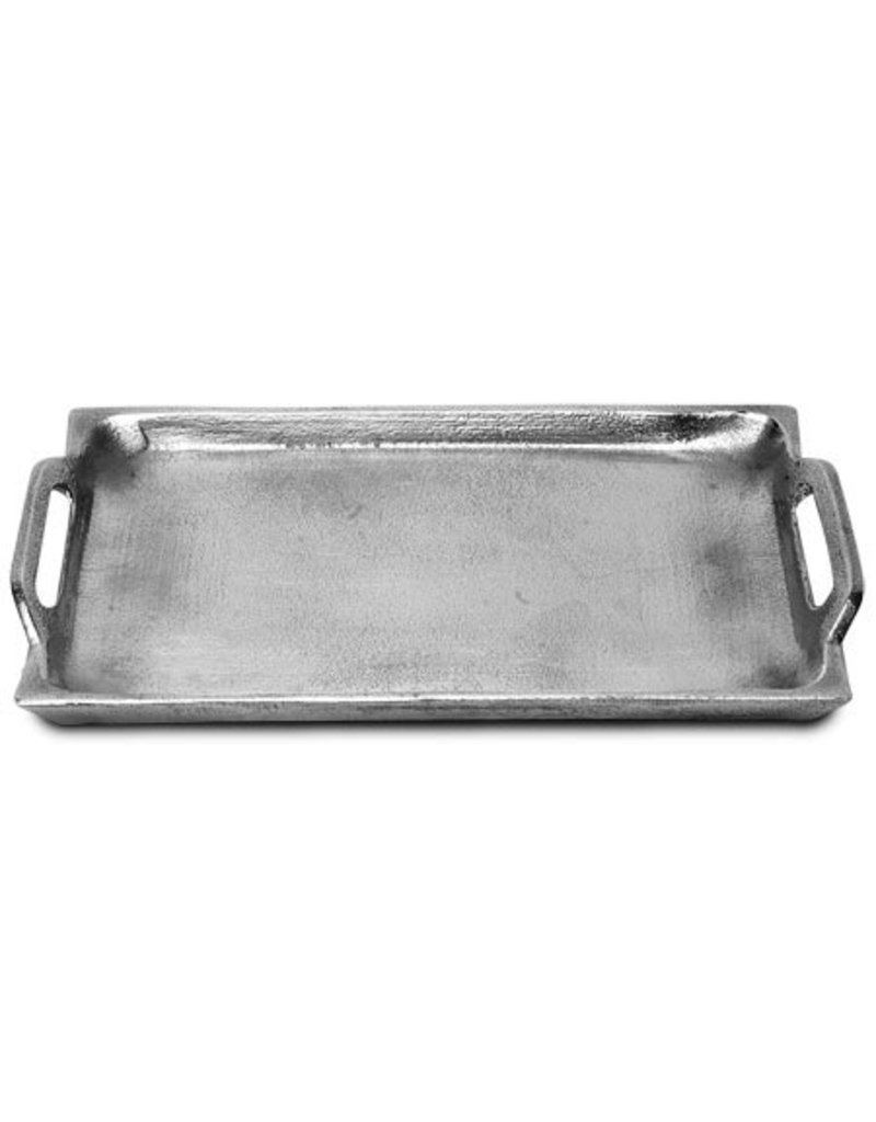 India Handicrafts Textured Rec. tray w/ handle