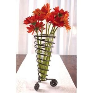 India Handicrafts Scroll Cone Flower Vase