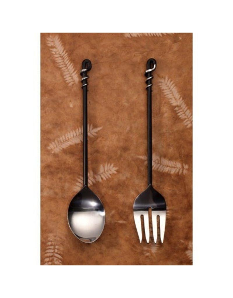 India Handicrafts black twist steel server s/2