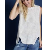 POL Clothing High Low Outline Cutout Sleeveless Sweater
