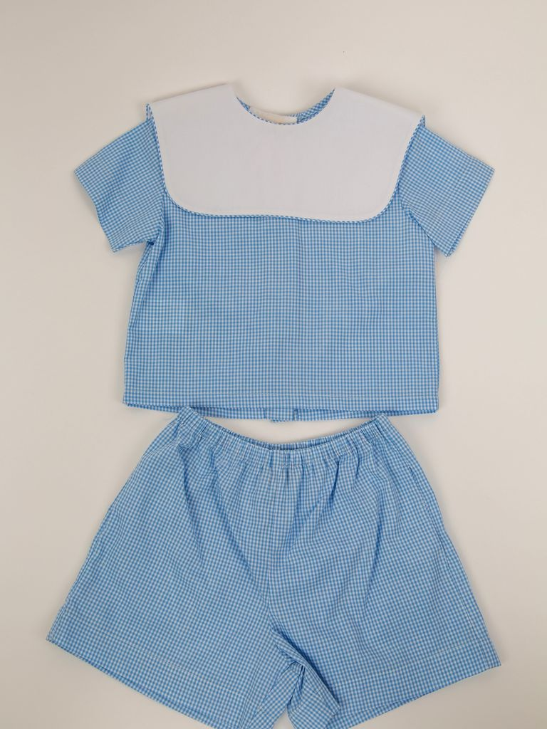 Rosalina Gingham Short Set w/ White Collar by Rosalina