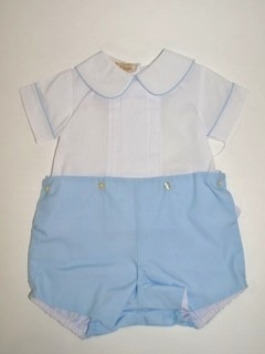 Rosalina Button-on Short Set by Rosalina, white/blue