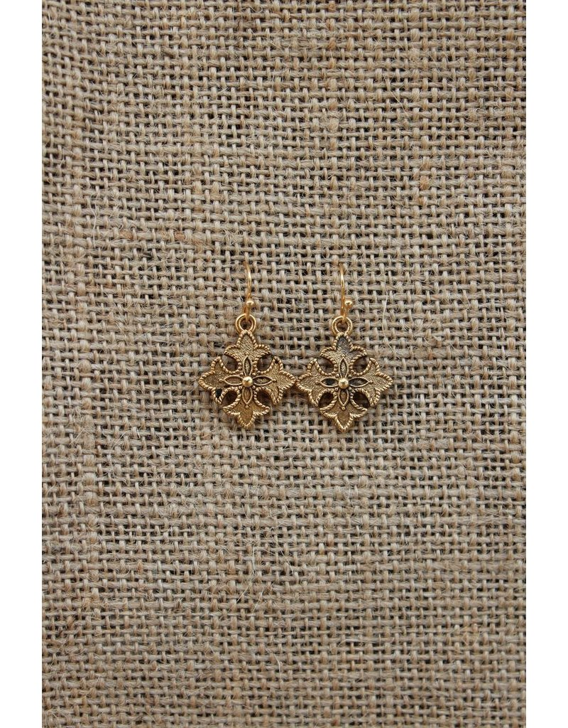 Majestees Earring - Gold Fleur-de-Lis Cross