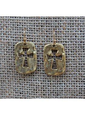 Majestees Earring - Open Cross Gold