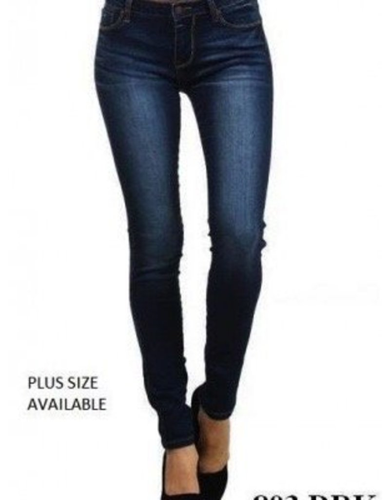 By Togeher Plus Size Mid Rise Plain Jane Skinny Jeans