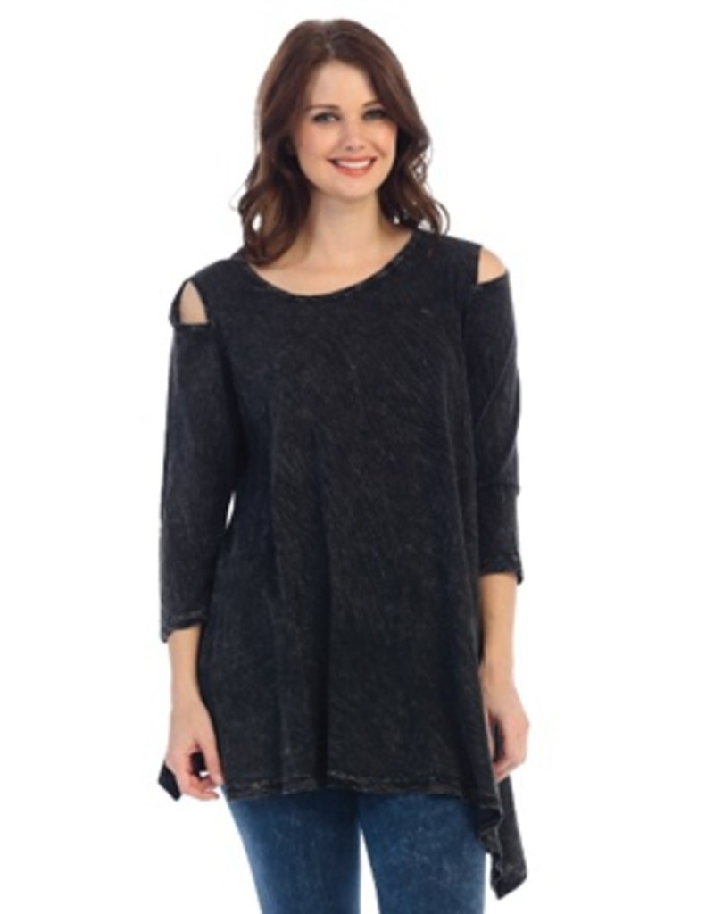 Jess & Jane Mineral Washed Cold Shoulder Asymetrical Tunic