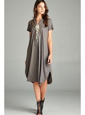 Hyku Washed Lace Up Front Short Sleeve Dress by Hyku