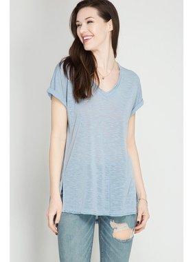She + Sky Folded Short Sleeve Shirt w/Raw Hemline