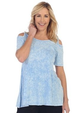 Jess & Jane Mineral Washed 100% Cotton Cold Shoulder Tunic by Jess & Jane (plus size)