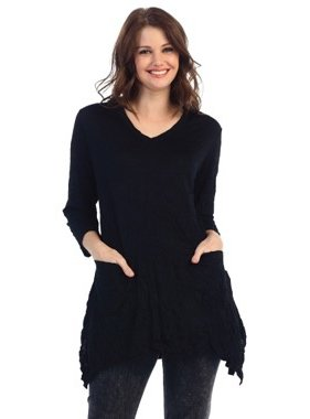Jess & Jane Melange Crushed Knit Tunic with Pockets by Jess & Jane (plus size)