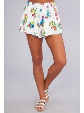 Peach Love California Floral Print Shorts