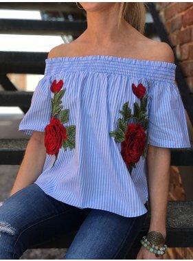 Vintage Havana Floral Patch Off Shoulder Top
