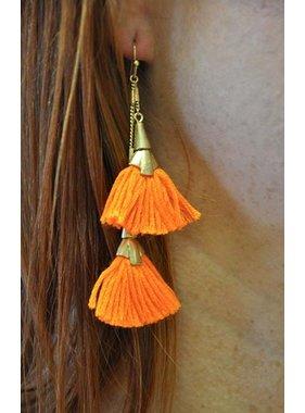 Ann Paige Designs orange 3 tiered tassel earring
