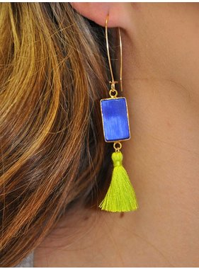 Ann Paige Designs blue rectangle earring with green tassel hook closure