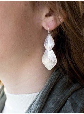 Ann Paige Designs 2 tiered etched earring in gold & silver