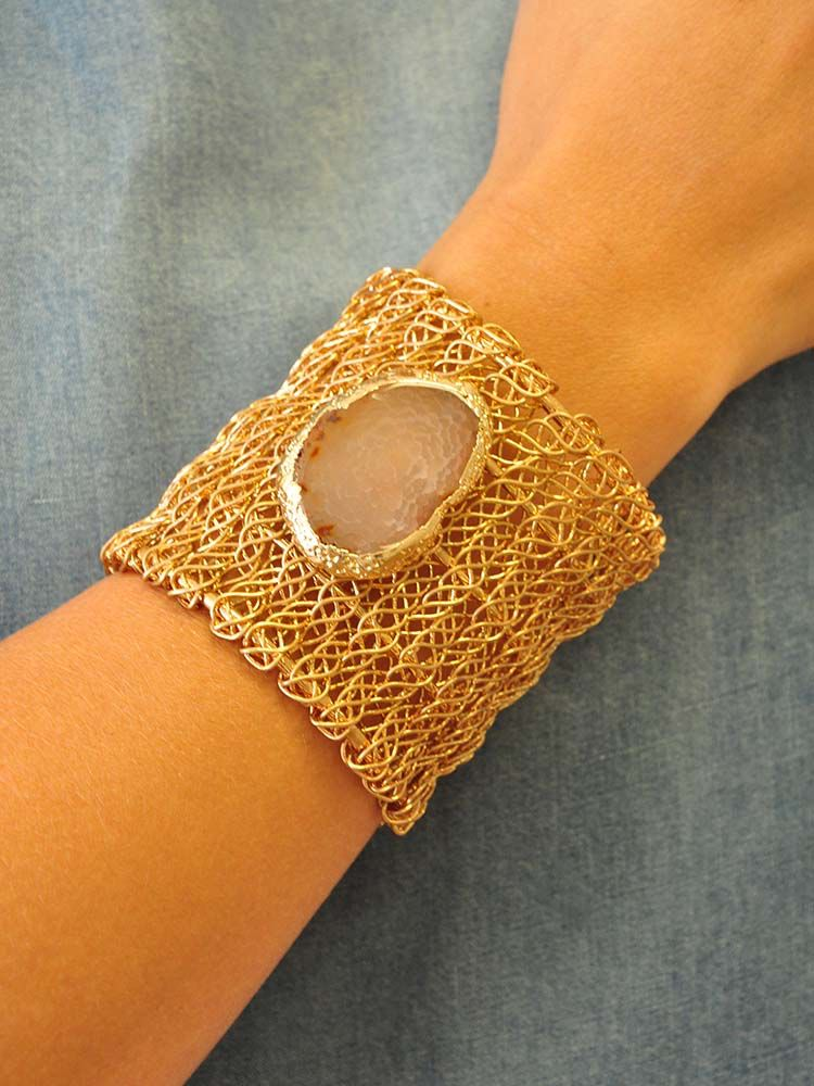 Ann Paige Designs large wired wrapped gold cuff with natural gemstone accent
