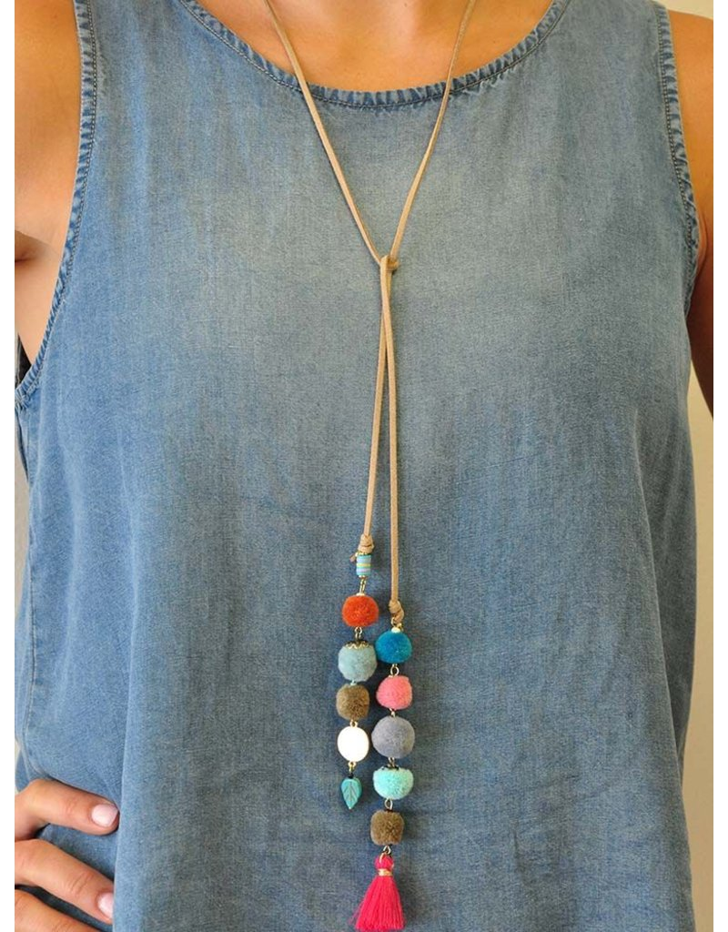 Ann Paige Designs leather wrap necklace with pom pom accents