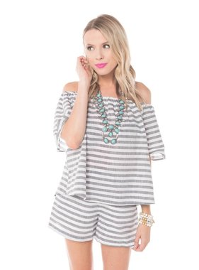 Buddy Love Wholesale talladega off the shoulder striped top