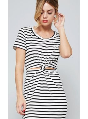 promesa usa Striped print ribbed mini dress with a waist cutout and knotted detail