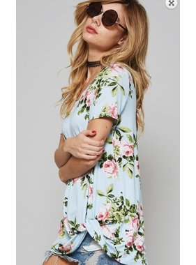 promesa usa floral oversized top with knotted-hem detailing