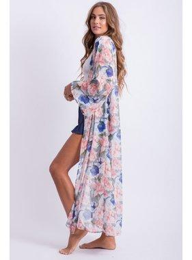 Peach Love California floral duster kimono