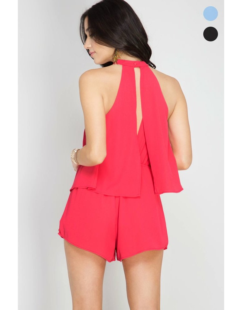She + Sky Sleevless layered romper with lining