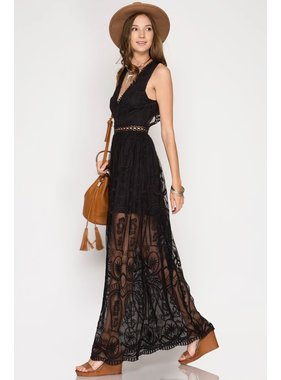 She + Sky Black Crochet Lace Maxi Dress