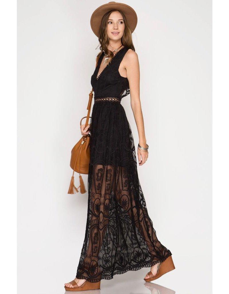 She + Sky Black crochet maxi dress