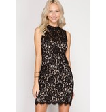 She + Sky scalloped lace bodycon mini dress with open back