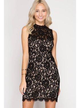 She + Sky Black Lace Bodycon Dress