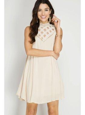 She + Sky sleeveless high neck swing dress with yoke lace